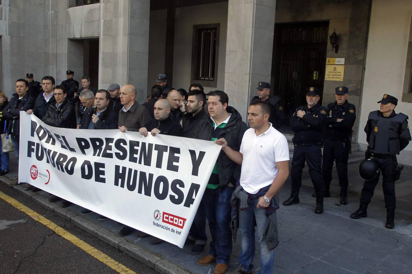 Concentración de los trabajadores de Hunosa