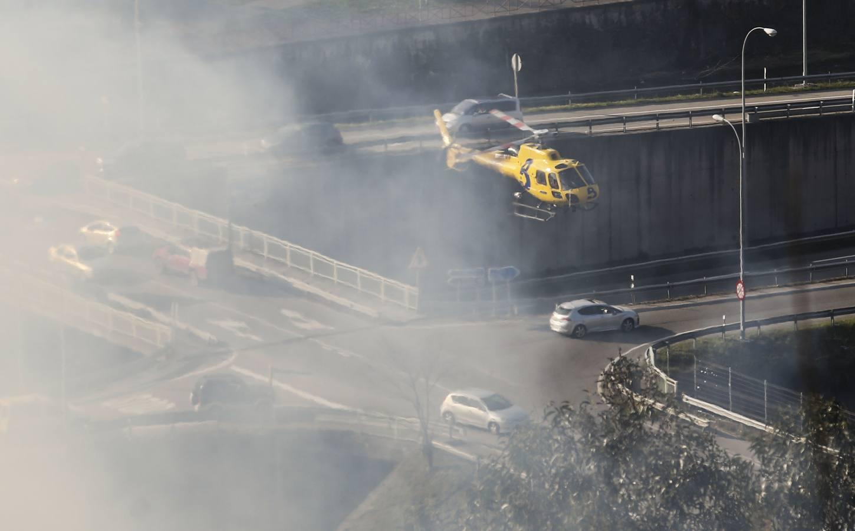 Una quema de rastrojos provoca un incendio en Mieres